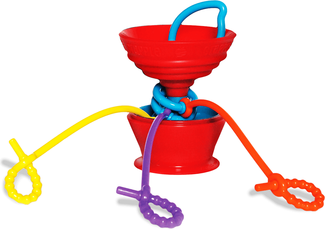 The Grapple® toy tether is a red, apple-shaped adjustable toy holder that suctions to any smooth surface and holds your baby's favorite toys with colorful silicone straps.