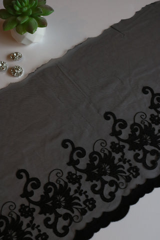"Black 10.5"" Wide Embroidered Lace Trim"