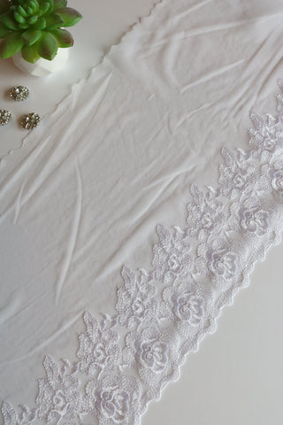 "White 10.5"" Wide Embroidered Lace Trim"