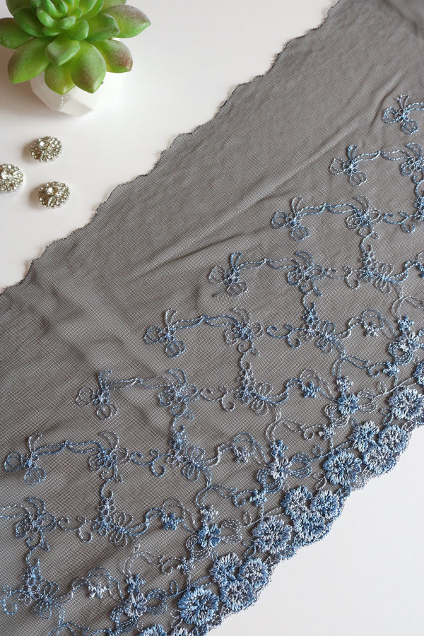 "Black & Powder Blue  9.25"" Wide Embroidered Lace Trim"
