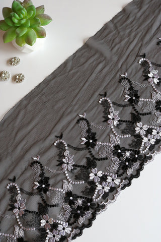 "Black & White 9.25"" Wide Embroidered Lace Trim"