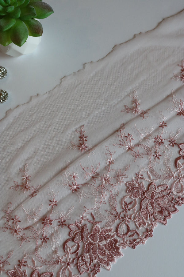 "Vintage Pink 8.25"" Wide Embroidered Lace Trim"