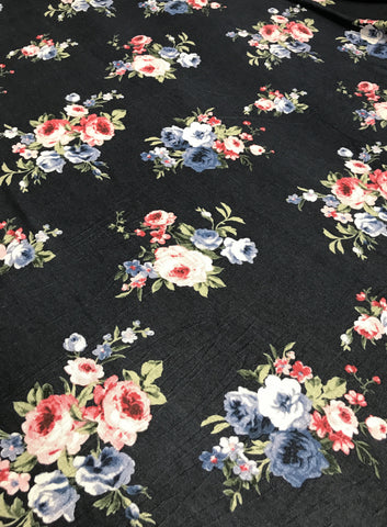Pink & Blue Floral Rayon Spandex