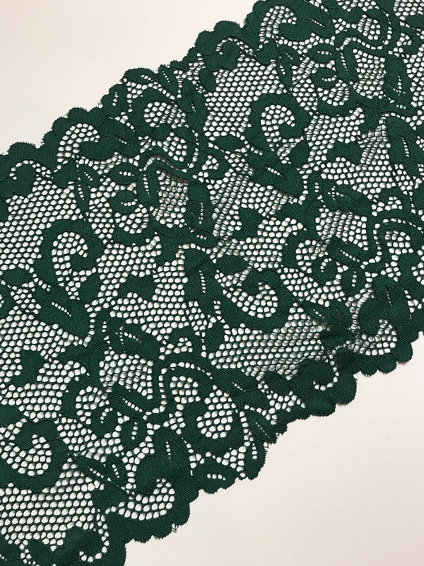 "Green Ivy 9.25"" Wide Stretch Lace"