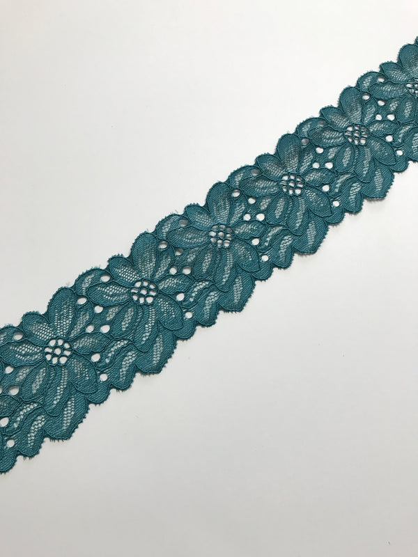 "Teal 2.5"" Wide Stretch Lace"
