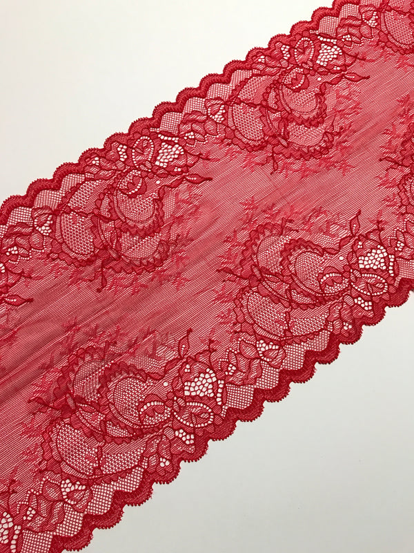 "Brilliant Red 7.75"" Wide Stretch Lace"