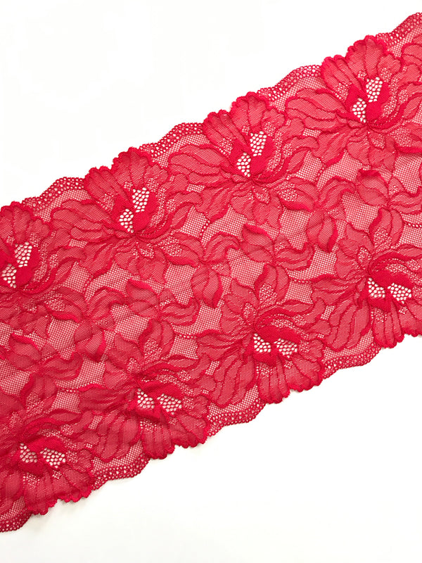 "Sparkling Red 8.75"" Wide Stretch Lace"