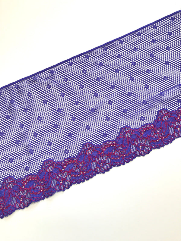 "Purple & Red 8.5"" Wide Stretch Lace"
