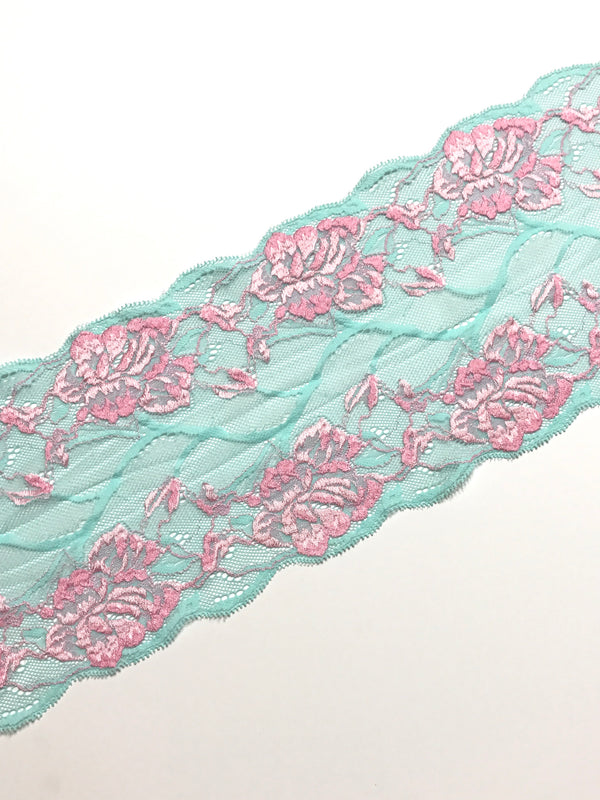 "Aqua & Pink 6.5"" Wide Stretch Lace"