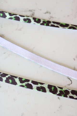 "Green Cheetah 1/2"" (13mm) Satin Strap Elastic"