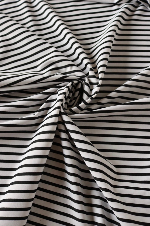 Black/White Mini Stripe Nylon Spandex