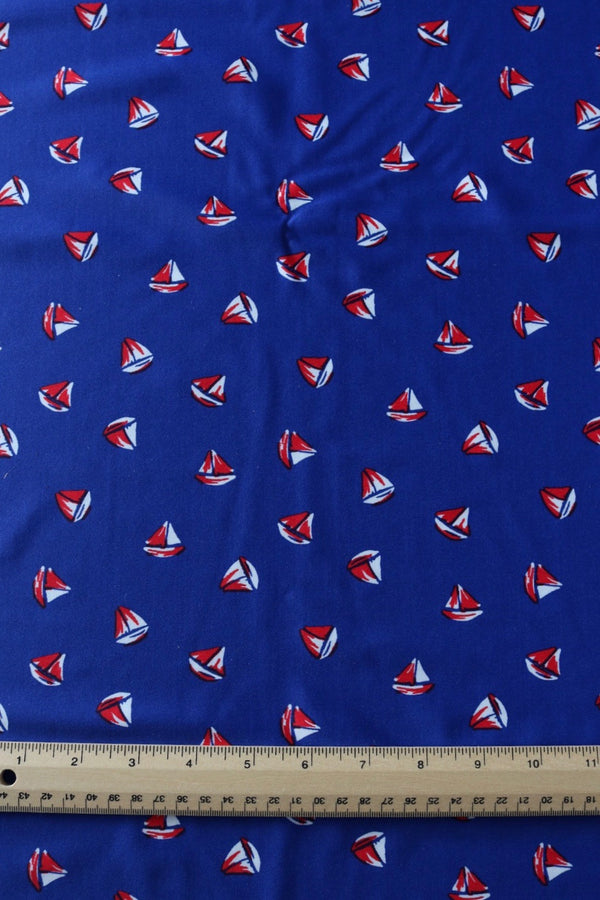 Sailboats on Dark Blue Nylon Spandex
