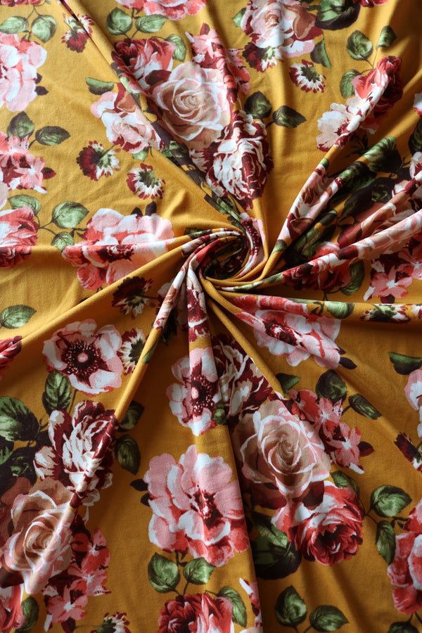 Piper Floral on Mustard Double Brushed Poly