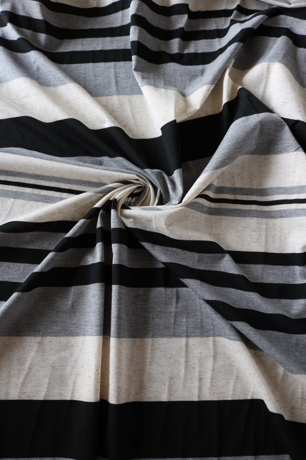 Black Stripe Poly Linen Jersey