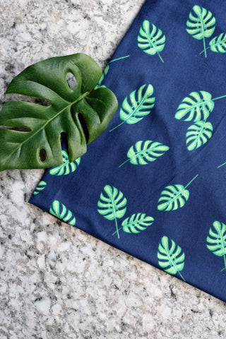 Simply Palms on Navy Double Brushed Poly