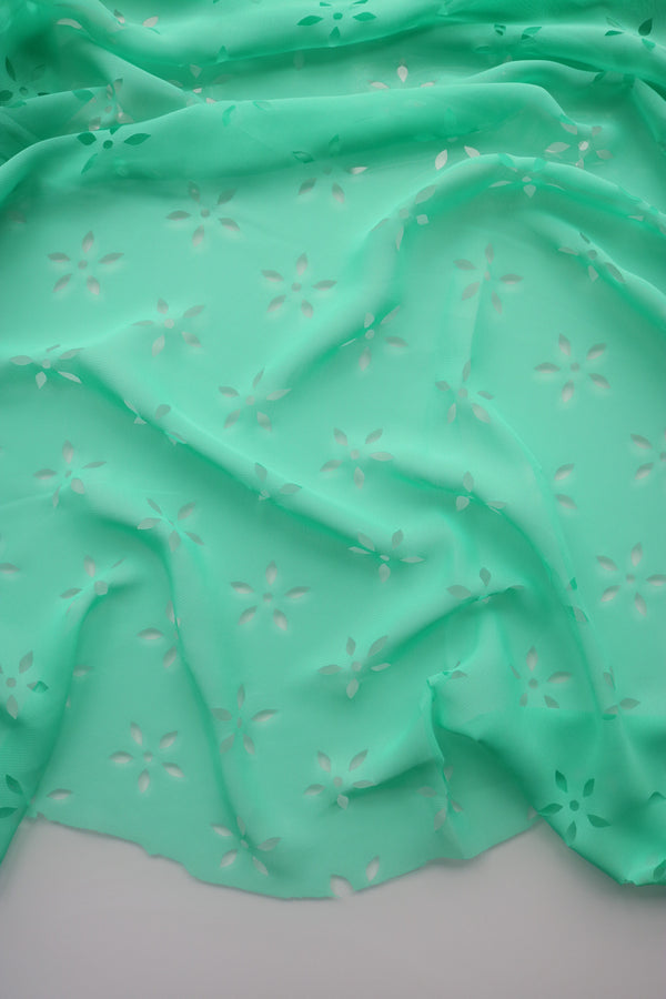 Mint Green Floral Laser Cut Chiffon