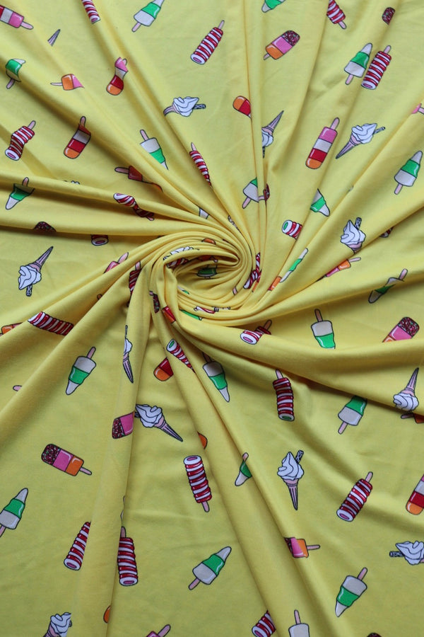 Summer Treats on Yellow Double Brushed Poly
