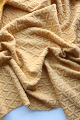Celosia Yellow Interwoven Squares Quilted Knit