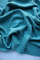 Ocean Blue Interwoven Squares Quilted Knit
