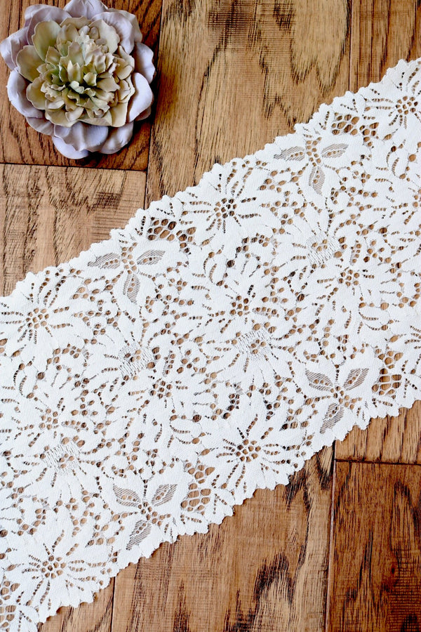"White 7.5"" Wide Stretch Lace"