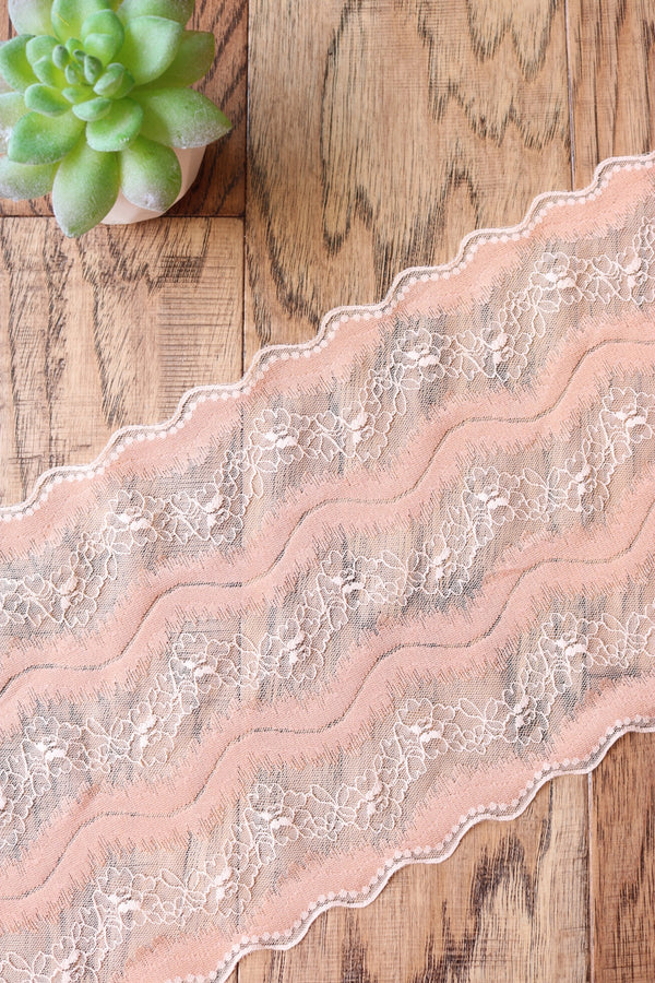 "Peaches & Cream 7.5"" Wide Stretch Lace"