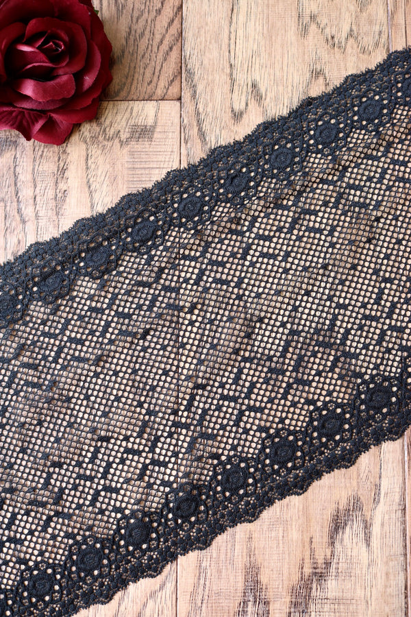 "Black 8"" Wide Stretch Lace"