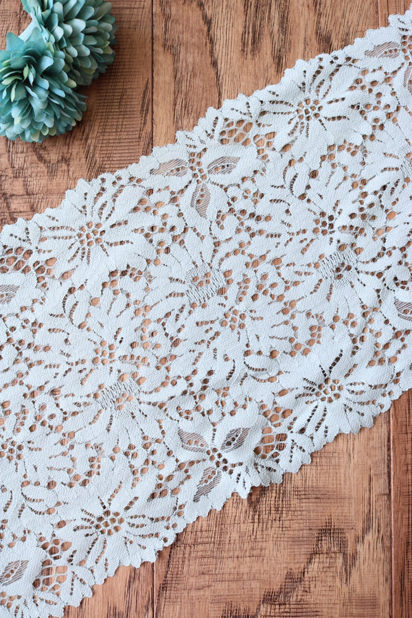 "Ice Blue 7.5"" Wide Stretch Lace"