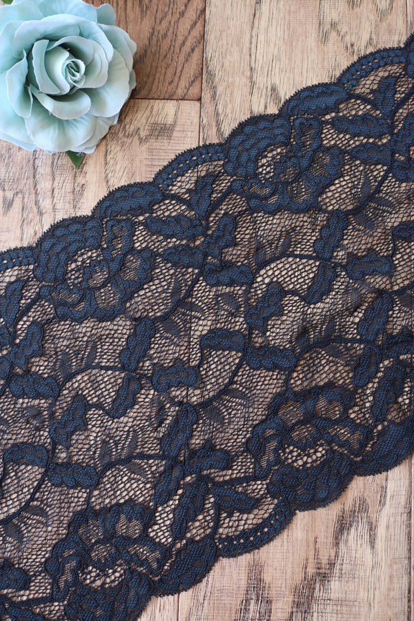 "Black Smoke 9"" Wide Stretch Lace"