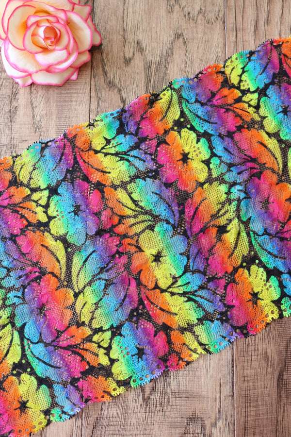 "Hawaiian Rainbow 9"" Wide Stretch Lace"
