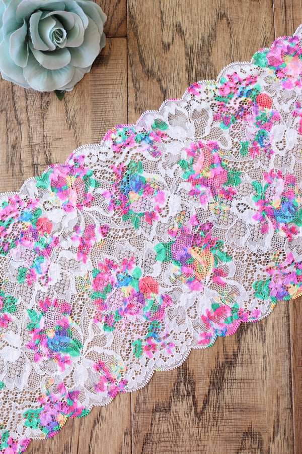 "Bloomin' Pink 7.75"" Wide Stretch Lace"