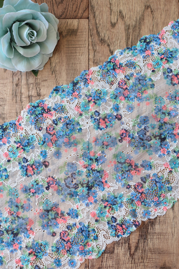 "Blue Blossoms 8.5"" Wide Stretch Lace"