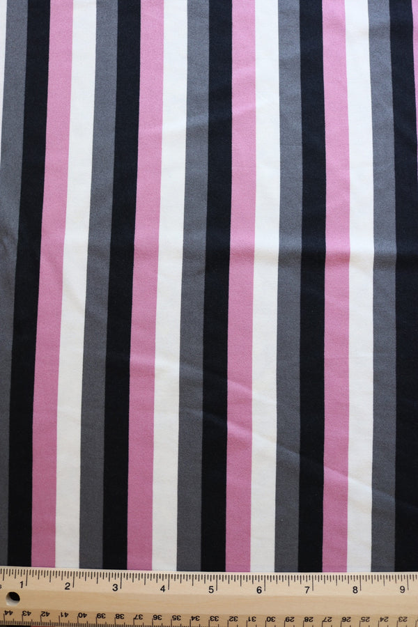 Mauve/Black/Gray/Ivory Vertical Stripe Double Brushed Poly