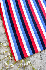 Navy/Royal/Red/Ivory Vertical Stripe Double Brushed Poly