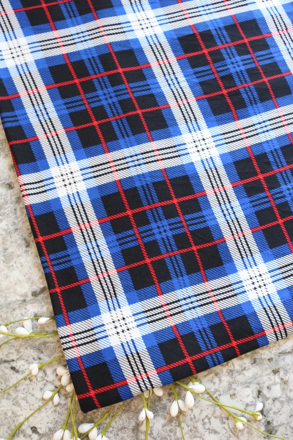 Royal/Black/Ivory/Red Finn Plaid Double Brushed Poly