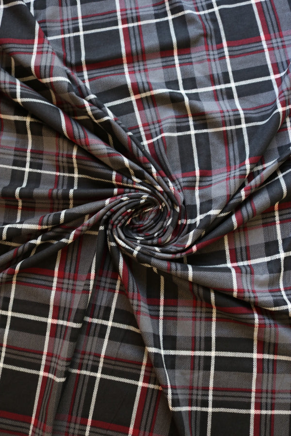 Gray/Black/Burgundy/Ivory Zion Plaid Double Brushed Poly