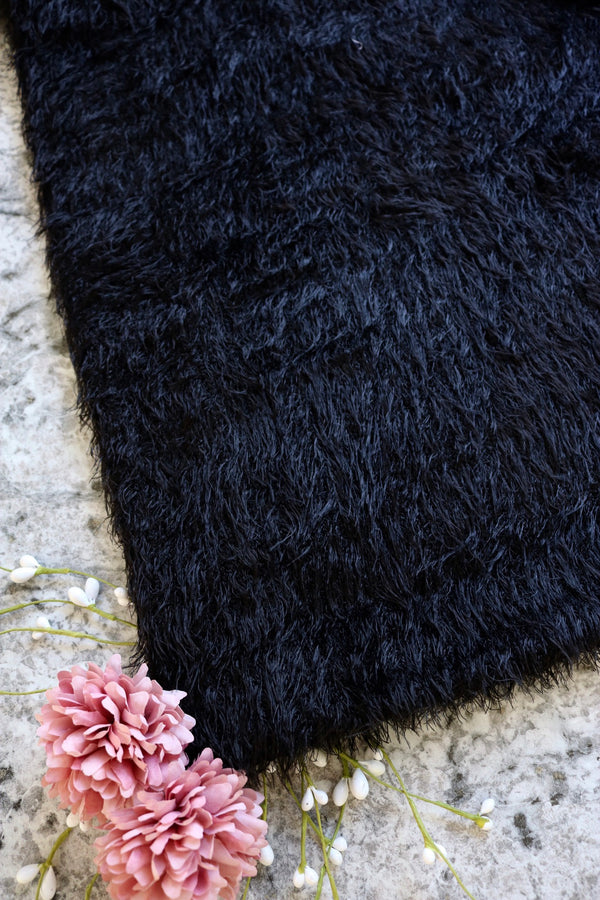 Black Lush Faux Fur Hacci Sweater Knit