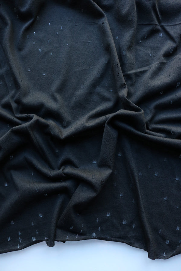 Black Distressed Eyelet Poly/Cotton Jersey