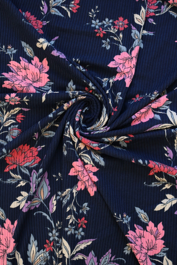 Persaphone Floral on Navy Poly Rib Knit