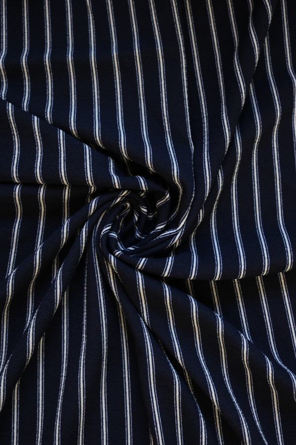 Ivory on Navy Vertical Stripe Liverpool