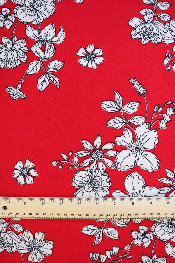 Floral Sketches on Red Liverpool
