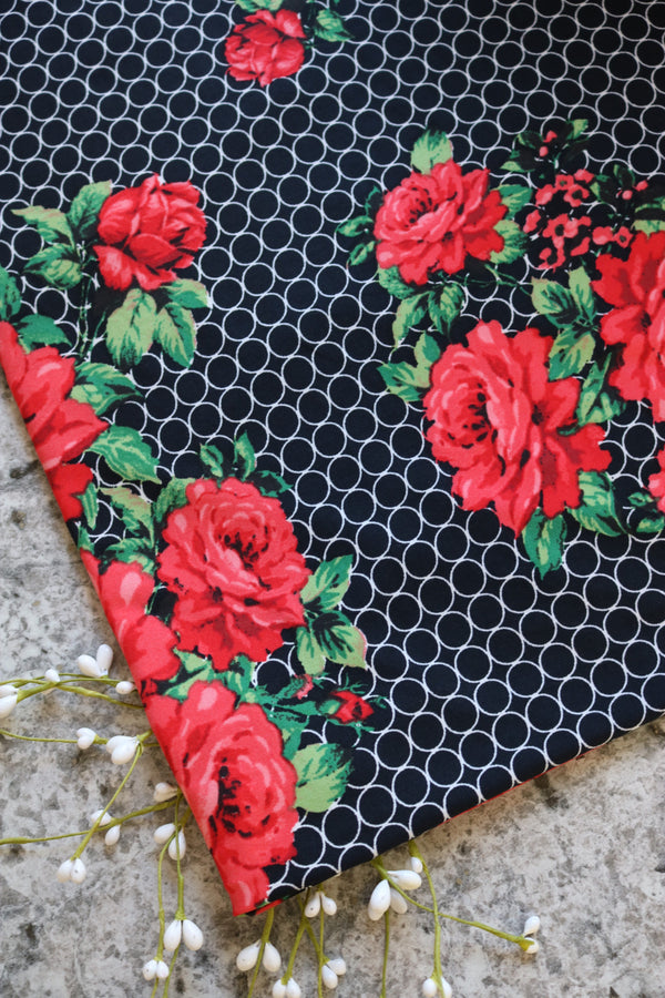 Red Floral Cleo Double Brushed Poly