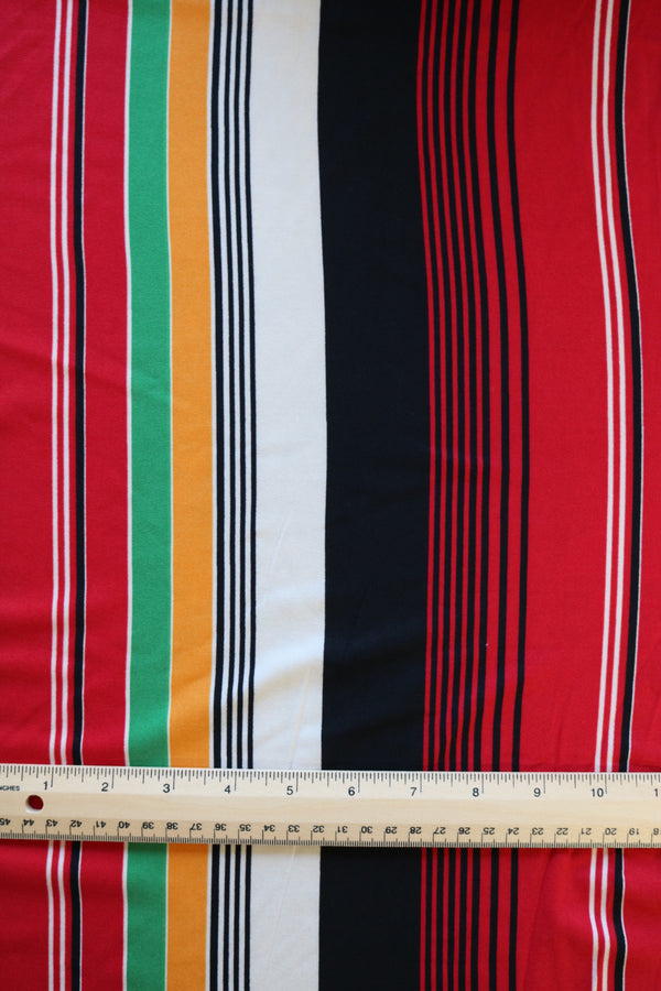 Red/Green/Yellow/Black/White Vertical Stripe Double Brushed Poly