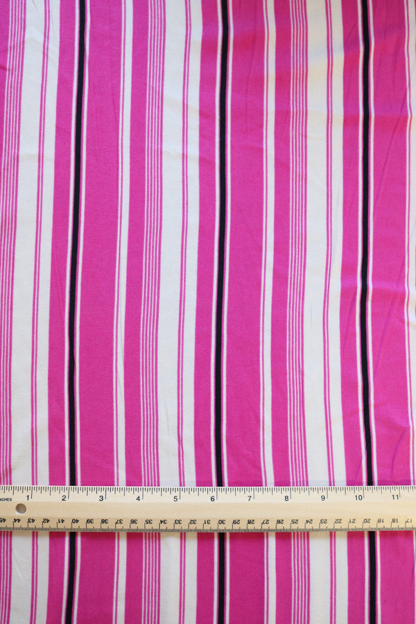 Pink/Black/White Vertical Stripe Double Brushed Poly