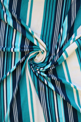 Teal/Navy/White Vertical Stripe Double Brushed Poly