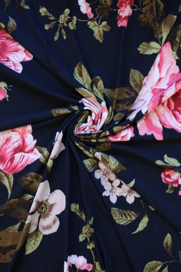 Leslie Floral on Navy Double Brushed Poly