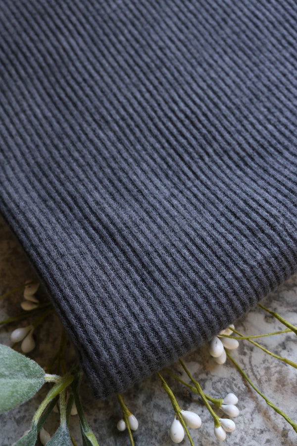 Charcoal/Black Brushed 2x2 Rib Sweater Knit