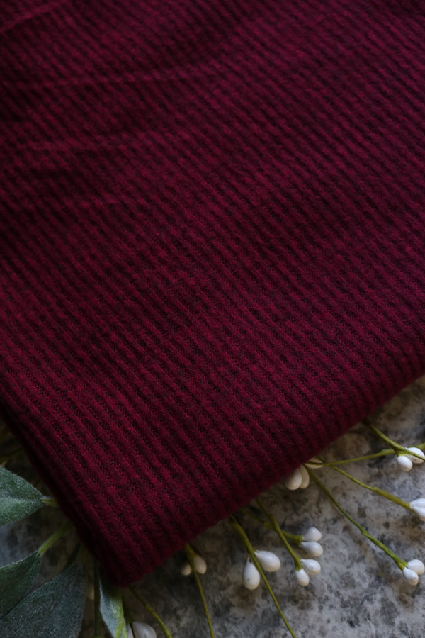 Burgundy/Black Brushed 2x2 Rib Sweater Knit