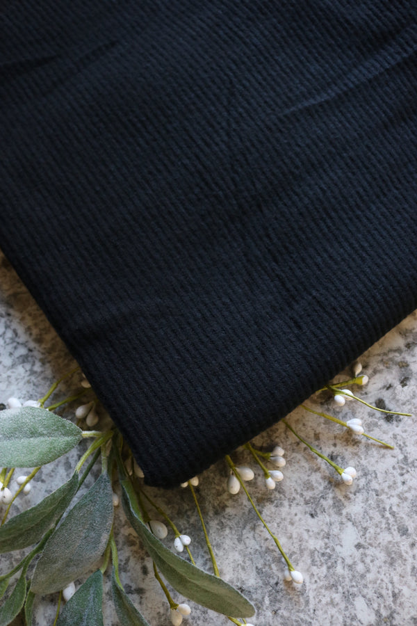 Black Brushed 2x2 Rib Sweater Knit
