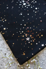 Gold Foil Stars on Black French Terry