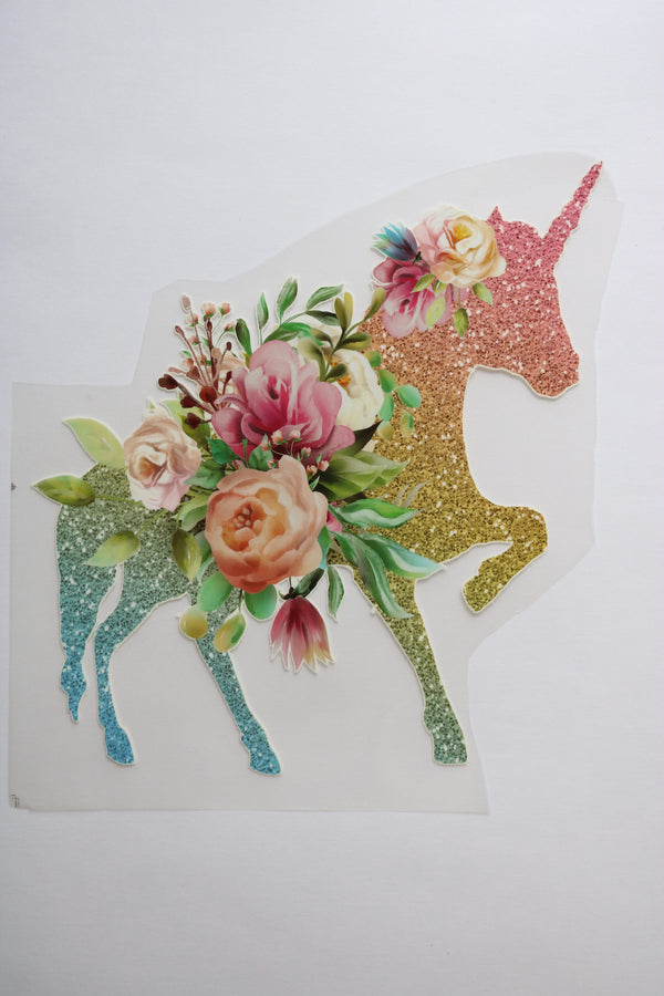 Large Rainbow Sparkle Unicorn Heat Transfer, Iron-On